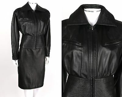 VTG 80s 90s GENNY BLACK 2PC QUILTED LEATHER JACKET PENCIL SKIRT SET OUTFIT SZ M
