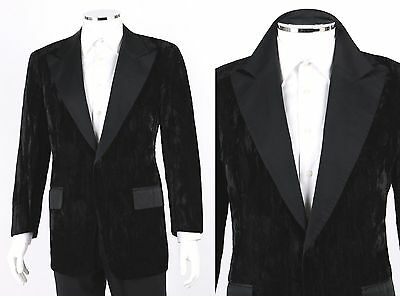 Vtg AFTER 6 1970's Black Crushed Velvet Tuxedo Evening Suit Jacket Sport Coat 42