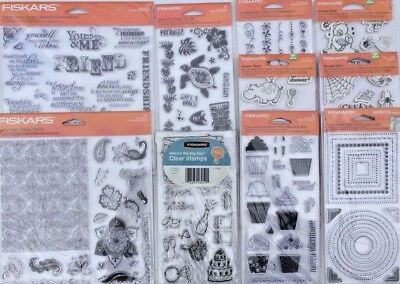 Lot of 10 Fiskars Acrylic/Rubber Stamps 4x8 and 8x8 Creepy Cupcakes Borders NIP