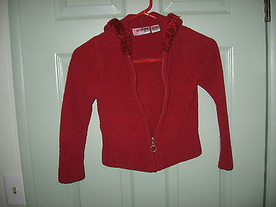 "Girls ""energie"" Red Sweater --Full Zipper Front--- Hood ---Size 6"