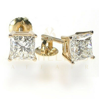 Screw Back Enhanced Stud Diamond Earrings 2.4 Carat H VVS1 18K Yellow Gold