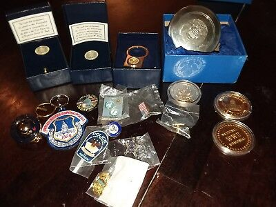 LOT OF MISC ITEMS Gold coins, pins, Oval Office. Chef of police.
