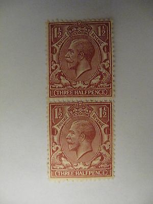 1912-13 King George V 2 Stamps Three Halfpence (not hinged)(average)