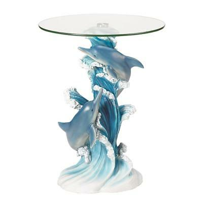 Accent Table Playful Dolphins Foaming Waves Glass Top Sculptured Pair Detailed