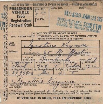 1935 NYS VEHICLE REGISTRATION for 1924 FORD TUDOR
