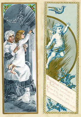 Antique 1800s Victorian Christmas 2-Side Bookmark Card Cherub Girl Cat Stocking
