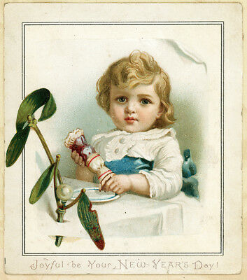 "Antique Victorian Baby Boy w Cracker New Year's Card c1880 Verse on Back 4.5""x4"""