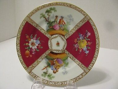 """Quatrefoil 8"""" Plate - Dresden - Courting Couples/floral - Burgundy/white"""
