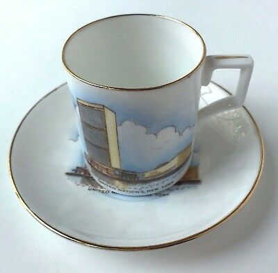 Vtg United Nations Souvenir Mini Mug Cup Saucer Gold Trim Kent Bone China Englan