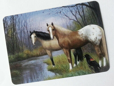 Swap / Playing Card ~ Appaloosa Horse River Scene  ~ Modern Wide ~ Linen