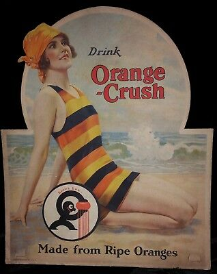 Original 1920's Orange Crush Soda Diecut Cardboard Sign Pinup Excellent Gas Oil
