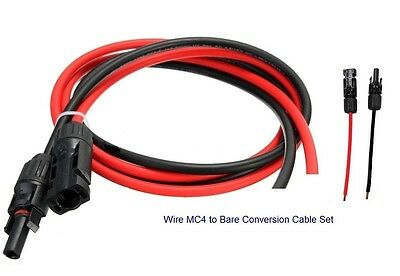 Pair of Bare Cable Wire Male & Female MC4 Connectors Red & Black 3.5FT