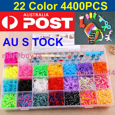 Large Rainbow Loom Band Storage Kit- 4400 Bands Board Loom Hooks Clips Charms OZ