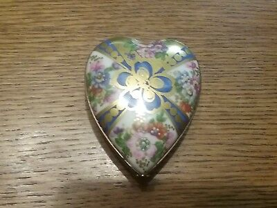 Limoges France heart trinket box with gilt hand painted