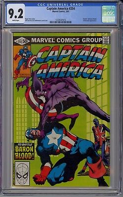 Captain America #254 CGC 9.2 NM- Wp Death of Baron Blood 1981 Byrne NO RESERVE!!