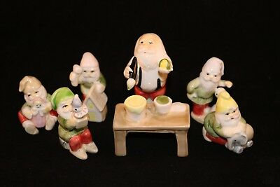 Vintage Fitz & Floyd FF Santa Claus and 5 Elves Christmas Toy Workshop Porcelain
