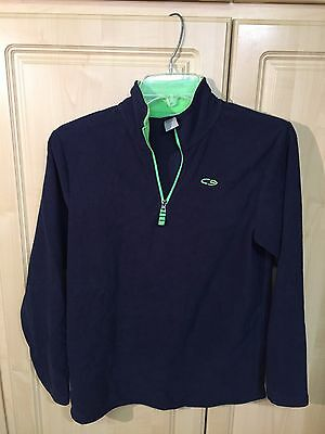 Boys Champion Lightweight Pullover Sweater Blue Lime Green Size Large 12-14