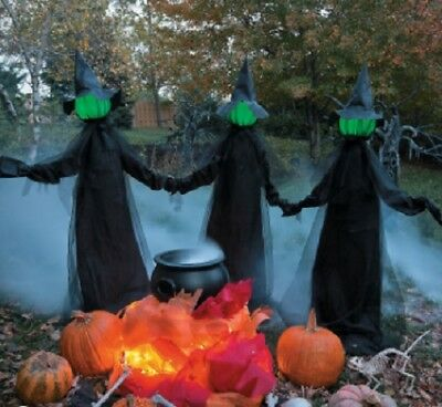 Set of 3 Glowing Witches Witch Coven Outdoor Lighted Halloween Yard Decor Prop