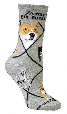 Pit Bull Terrier Dog Breed Gray Lightweight Stretch Cotton Adult Socks