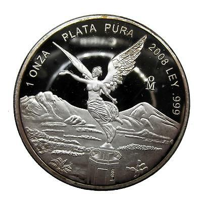 N529 Mexico 1 onza plata pura 2008 silver plated proof coin 999  FREE SHIPPING
