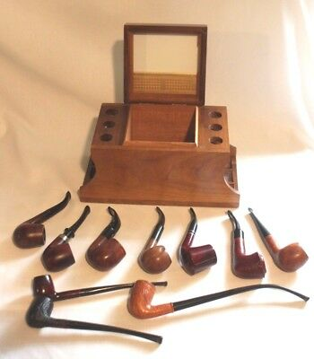 Lot of 10 Vintage Smoking Pipes & Decatur Stand-Humidor