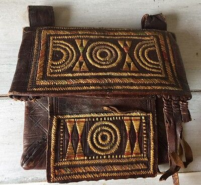 Old Antique Berber Bag Pouch Leather Weaved Sewn