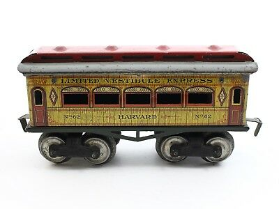 Ives Prewar O No. 62 Limited Vestibule Express Harvard Passenger Tin 8 Wheel