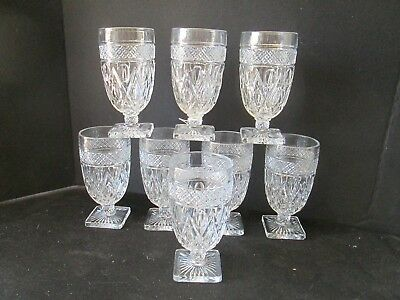 HTF Set 8 IMPERIAL CAPE COD Footed Square Bottom Tea Goblets Glasses Clear Glass
