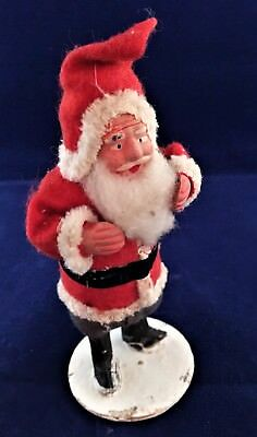 Vintage Standing Santa carrying Sack w/ molded clay face hand  Tube Body