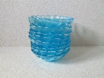 Vintage Set 9 Hazel Atlas Glass Electric Bright Capri Blue Swirl BERRY BOWLS