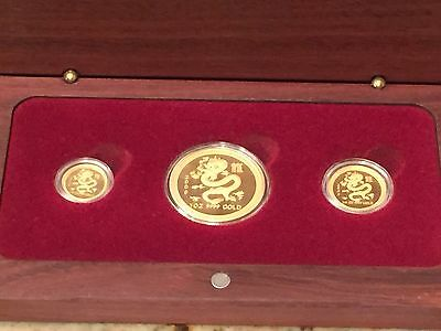 2000 Australia Lunar Year Of The Dragon Three Gold Coin Proof Set - Very Rare!!!