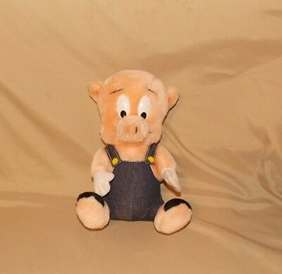 Warner Brothers PORKY PIG stuffed animal plush by 24K company blue overalls