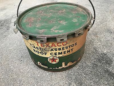 25 pound Texaco Asbestos  Roof Cement Can Empty w/ Handle free ship lower 48