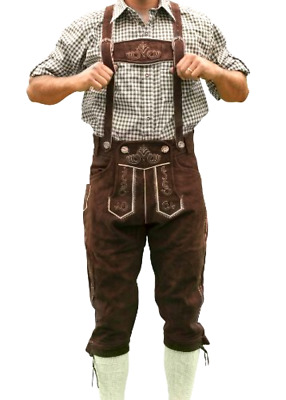 German Costume Halloween Bundhosen Hans Bavarian Tracht Size 34 In Dark Brown
