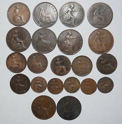 Lot of 21 Great Britain Coins - Pennies - Half Pennies - Farthings 1853 to 1929