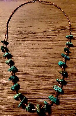 Large Old Pawn Native American Gem Turquoise  Heishi Necklace 72 GRAMS 29""