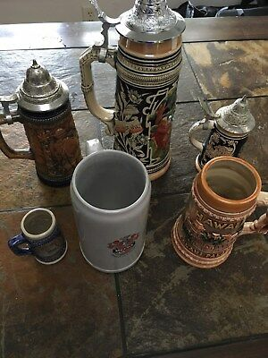 Genuine German Stein and mug collection. Lot of 6.