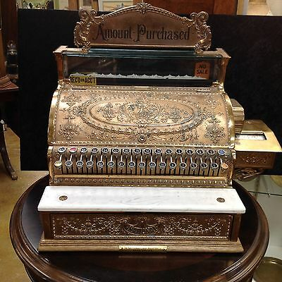 Antique 1910 National Cash Register Solid Brass Ornate With Rare Printer Marble
