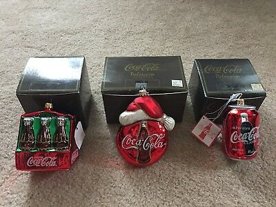Lot of 3 Coca-Cola Polonaise Christmas Ornaments by Kurt Adler from 90s in Boxes