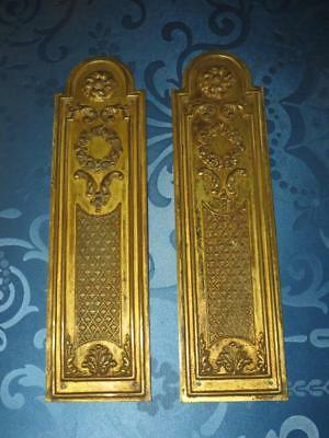 Superb Pair of French Chateau Antique Gilded Brass Door-Finger Plates.
