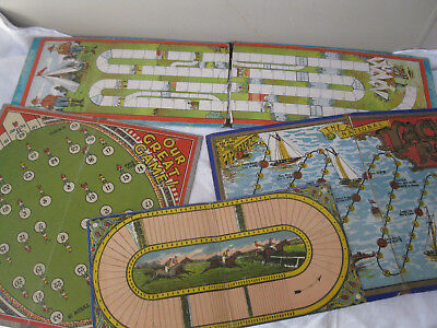 4 X Vintage / Old Board Games Yachting Scouts Football & Steeplchase.