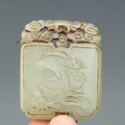 China Exquisite Hand-carved Lotus and flowers carving Hetian jade Pendant