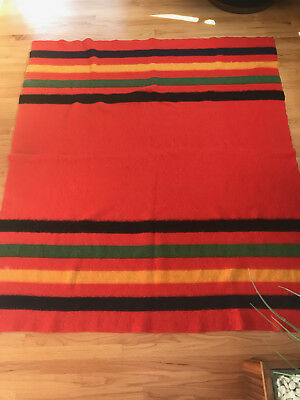 "Vintage Red Wool Blanket with Black Green Yellow Stripes 72"" X 67"" Rare"