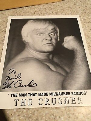 "Reginald Lisowski ""The Crusher"" Wrestler Genuine Autographed Photo. Milwaukee, W"