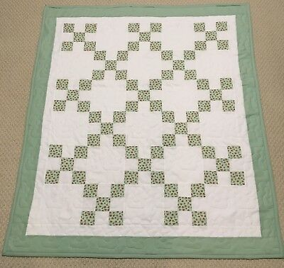 New Handcrafted Cotton Grren/Pink/White  Irish Chain Baby Quilt