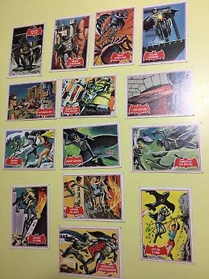 Vintage 1966 Batman Robin Cards Lot of 14 Topps Red  National Periodical Pub TCG