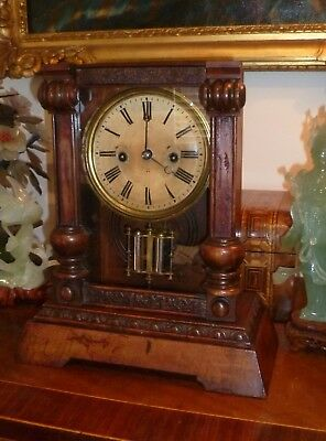 Antique German HAC  mantle clock with mercury pendulum - goes well - no reserve