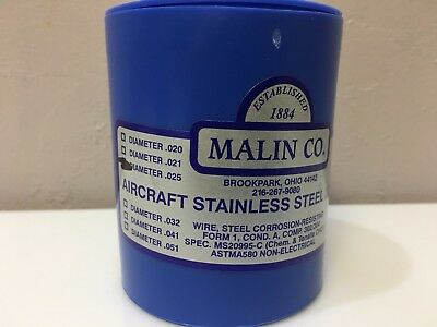 2 MALIN AVIATION S//S AIRCRAFT SAFETY WIRE 1lb roll of both .025 /& .041 w// certs