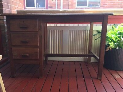 Desk - Antique Desk With 3 Drawers