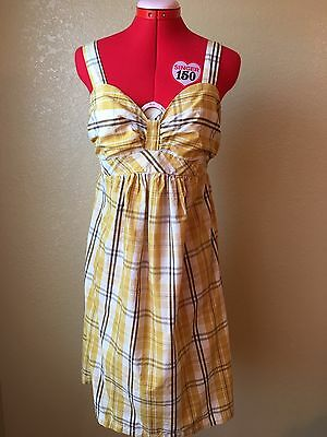 Motherhood Maternity Sunset Yellow Plaid Sleeveless Dress S women's baby